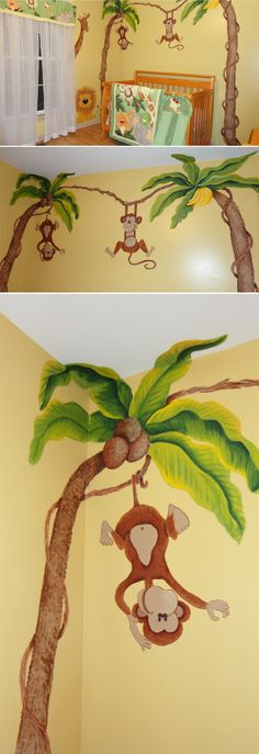 Today we are featuring a real jungle themed nursery that was DIY-ed by an extremely talented grandma, mama and entire family for that matter.  It is so fun