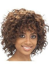 Outstanding Short Curly Brown Side Bang African American Wigs for Women 12 Inch