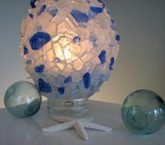 Beach Decor Sea Glass Vase  Nautical Decor by beachgrasscottage, $48.00