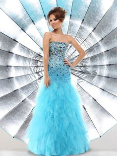 A-line Strapless Sleeveless Tulle Blue Prom Dress With Beading #FK143