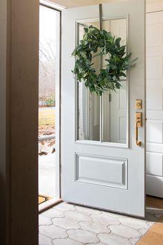 Starting 2018 at Home - Seeking Lavendar Lane Front Door Colors, Front Door Decor, Front Doors, Entryway Decor, Colonial Front Door, Double Front Entry Doors, Front Door Hardware, Modern Front Door, Floors And More