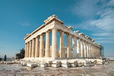Stoa of Attalos in Agora, Athens, Greece. It is one of the main tourist attractions of Athens. Panoramic view of Stoa columns with perspective. Greek Parthenon, Athens Acropolis, Athens Greece, Historical Architecture, Archaeological Site, World Heritage Sites, Destinations, Beautiful, Travel Destinations