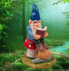 A mini reading gnome to enchant your mini fairy gardens.