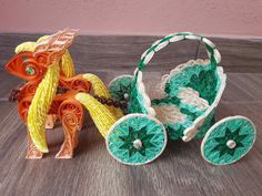 Quilling 3D Mint Carriage Quilling 3d, Pegasus, Crochet Earrings, Feather, Mint, Christmas Ornaments, Holiday Decor, Fall, Autumn