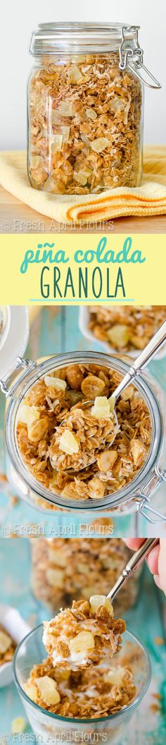Piña Colada Granola: Homemade granola sweetened with coconut palm syrup and loaded with toasted coconut and macadamia nuts, and of course, pineapple!