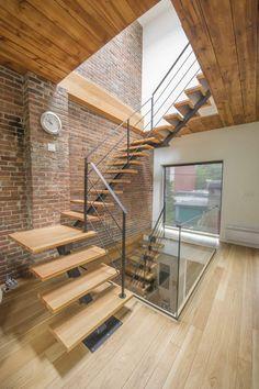 Escalier bois et métal, cèdre rouge de l'ouest