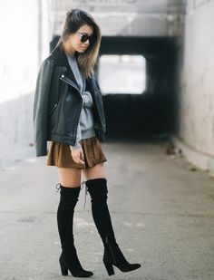 #fall #layers #leather #suede #skirt