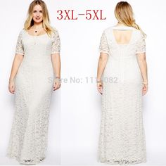 Women Lady Lace Oversize Short Sleeves Long Party Evening Gown Dress Plus Size Cheap Maxi Dresses, Casual Party Dresses, Backless Maxi Dresses, Lace Party Dresses, White Maxi Dresses, Maxi Dress With Sleeves, Sexy Dresses, Lace Dress, Gown Dress