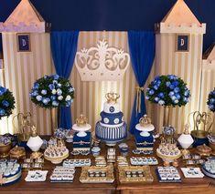 #festa #infantil #rei #azul #dourado #meninos #ideia #lindo