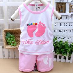 Kids cotton vest suit children's little feet pattern  clothing set for baby boy girls-in Clothing Sets from Mother & Kids on Aliexpress.com | Alibaba Group $3.09