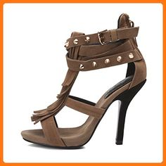Onlymaker Women s Ankle Strap Peep Toe Fringe Heeled Sandals Brown US8 Peep  Toes 6538ff62f62e