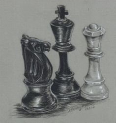 Value-This is a clear drawing of value. It has white through black in a way thats perfectly drawn and stands out. Now what really helps it is the white background with the black touches and outline that brings out the chess pieces. Value Drawing, Drawing Lessons, Drawing Ideas, Sketch Ideas, Pencil Drawings, Art Drawings, Value In Art, Jr Art, Drawing Exercises