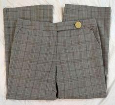 Tory Burch Flare Leg Gray Plaid Wool Blend Womens Dress Pants Size 10 (Q8#89) #ToryBurch #DressPants