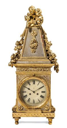A French Painted and Parcel Gilt Mantel Clock early 19th century