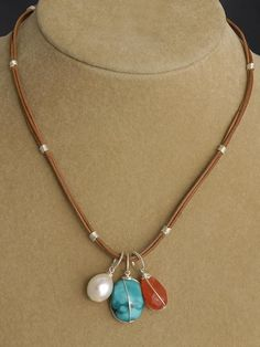 pinterest leather jewelry making ideas | Wire Wrapped Leather Charm Necklace | Handcrafted Jewelry