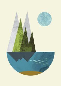 Earth print geometric print nordic design pastel colors door FLATOWL