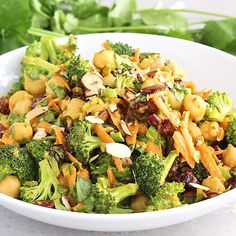 Broccoli chickpea salad with curry flavors with an amazing tahini dressing. This vegan salad packs plenty of protein and fiber for a satisfying lunch that's perfect for meal-prep — plus it takes less than 20 minutes to throw together. #broccoli #healthylunch #saladrecipe #broccolisalad #vegan #veganrecipe #glutenfree #chickpeas