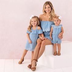Family Matching Clothes mommy and me clothes Women Kid Baby Girls Lace Playsuit Jumpsuit matching mother daughter clothes Outfit Baby Outfits, Mommy And Me Outfits, Baby Girl Dresses, Baby Girls, Baby Dress, Dress Outfits, Denim Outfits, Mom And Daughter Matching, Mother Daughter Outfits