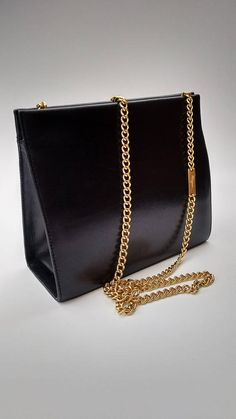e4bffdf3cb88 Sale! SALVATORE FERRAGAMO Vintage Black Leather Shoulder Handbag   Clutch  bag with Detachable Chain Strap. Italian designer purse.