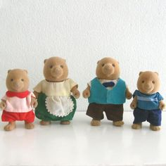 4 Vintage Maple Town 80s Toy Figures Flocked Beaver or Bear Family via Etsy