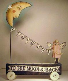 Fairy Moon 3D Altered Folk Art Bunting Collage Hand Made Mixed Media OOAK | eBay