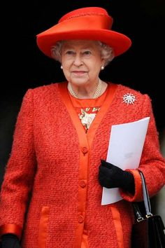 Queen Elizabeth II. Love the red style for Queen Elizabeth II.