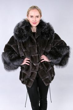 Grooved sheared mink jacket with fox trim