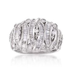 1.14 Carat t.w. Baguette and Round Diamond Ring In Sterling Silver