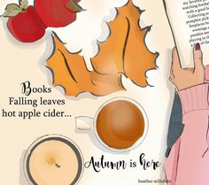Books, Falling Leaves, Hot Apple Cider | Autumn is Here | Heather Stillufsen