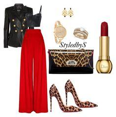 StyledbyS by sforstylebys on Polyvore featuring polyvore fashion style Balmain Hebe Studio Christian Louboutin Allurez clothing