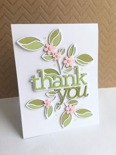 I've made a thank you card using the pretty new Simon Says Stamp Detailed Leaf die and CZ Design Thank You die from Simon's DieCembe. Penny Black, Note Cards, Thank You Cards, Karten Diy, Christmas Embroidery Patterns, Leaf Cards, Paper Smooches, Die Cut Cards, Scrapbook Cards
