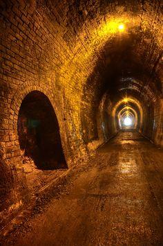 Unused train tunnel in the Karangahake Gorge, New Zealand. Situated at the base of the Coromandel Range, the Karangahake Gorge Historic Walkway follows the old railway line between Paeroa and Waihi, giving access to impressive remains from the mining and railway eras. (V)