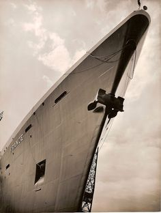 The bow of the French liner France.