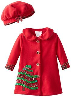 Bonnie Baby Baby-Girls Infant Christmas Tree Applique Coat and Hat, Red, 12 Months