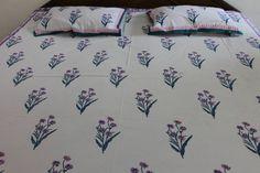 Handblock print Bedsheet with two matching by thejaiporestore