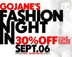 GoJane's FASHION NIGHT IN has arrived! Slip into your comfy PJ's, sip a cocktail, and shop with our exclusive, Facebook-only 30% off site-wide coupon!