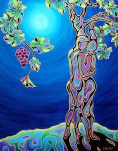 """Romance on the Vine"", 22""x28"" acrylic w/gold-leaf on gallery-wrap canvas, $1495.  Imagine this romantic wine pairing printed on shiny metal at www.Sandi-Whetzel.Artistwebsites.com"
