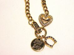 Juicy Couture Luck Horseshoe Heart Chain Charm Necklace Pendant #JuicyCouture #Chain
