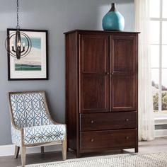 2-door Solid Wood Cherry Finish Armoire Ample Space Bedroom Storage #GrainWoodFurniture #Contemporary