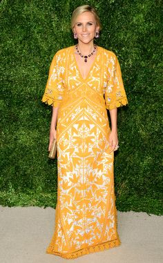 Tory Burch from 2015 CFDA/Vogue Fashion Fund Awards Arrivals  Mellow yellow! The designer shows a sunnier side onthe carpet.
