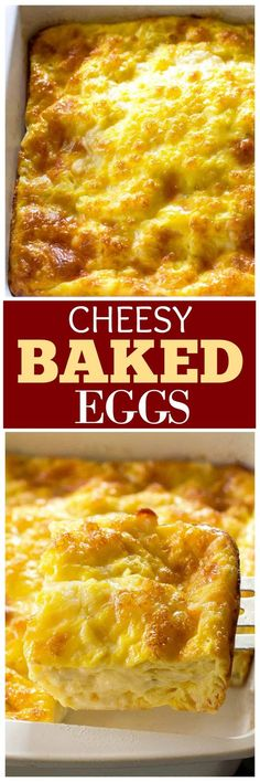 These Cheesy Baked Eggs are a recipe that you can make for company or for your family. Everyone asks for the recipe when I make these. #breakfast #eggs #casserole the-girl-who-ate-everything.com