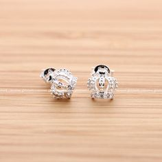 tiny CROWN stud earrings with crystals, in silver
