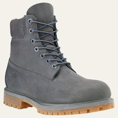 When you think of Timberland boots, you're thinking of these classic waterproof boots. Mens Grey Boots, Grey Timberland Boots, Timberland Waterproof Boots, Timberland Outfits, Timberland Mens, Big Men Fashion, Mens Boots Fashion, Bootie Boots, Moda Masculina