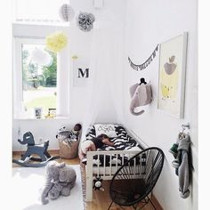 Yellow, black and grey kids room