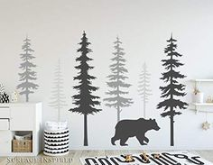 Nursery Wall Decals Pine Tree Wall Decals With Large Bear Wall Decal Wall Mural Stickers Nursery Tree Art Nature Wall Decals Scandinavian - Kinderzimmer ideen Tree Wall Murals, Tree Decals, Mural Art, Wall Art, Vinyl Decals, Sticker Mural, Wall Decor, Vinyl Art, Kids Room Wall Decals