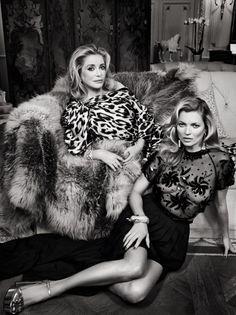 Kate Moss & Catherine Deneuve by Patrick Demarchelier for Vanity Fair February 2014