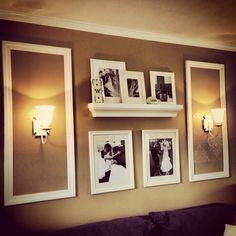 Photo wall picture display with damask stencils. Matte wall paint with high gloss stencils.