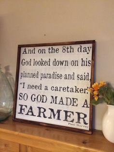 So God Made A Farmer 24x24 wood sign Great Christmas by kspeddler