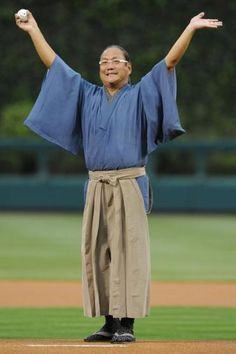 Iron Chef Morimoto throws out the first pitch at the Phillies game on May 9th
