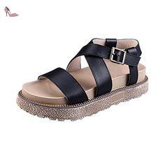 OCHENTA Femme Sandales Plateforme Epais Confortable Eté Lanière Boucle Noir 39 - Chaussures ochenta (*Partner-Link)